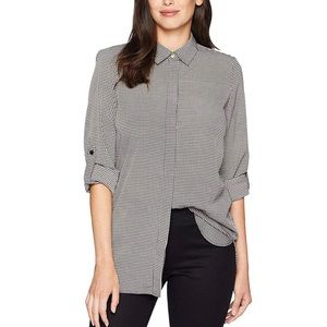 Ellen Tracy Houndstooth Button Down Blouse